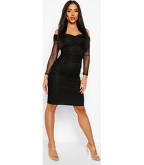 dobby off shoulder ruched bodycon midi dress, black