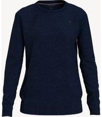 tommy hilfiger women's essential solid crewneck sweater sky captain - xxl