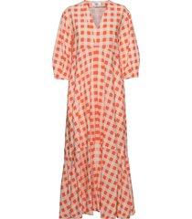 bell sleeve gingham check dress dresses everyday dresses orange victoria victoria beckham