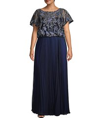 plus embroidered mesh pleated gown