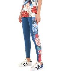 calça legging farm rio oriente floral - feminina - azul