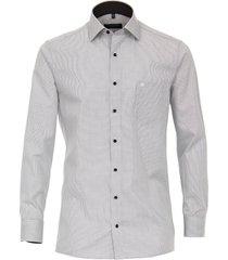 casamoda heren overhemd zwart fijn geruit print contrast comfort fit