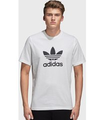 polera adidas originals trefoil t-shirt blanco - calce regular