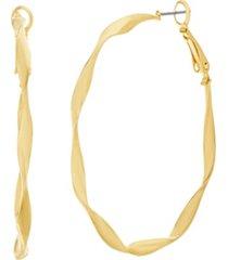 catherine malandrino women's polished twisted yellow gold-tone hoop earrings