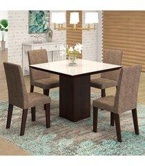 mesa de jantar 4 lugares geisa venus ameixa/malta/branco - viero móveis