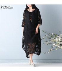 tallas grandes m-5xl zanzea mujer o cuello manga 3/4 encaje crochet beach party elegante vintage suelto vestido a media pierna sólido (negro) -negro