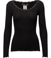 silk t-shirt regular ls w/rev vinta t-shirts & tops long-sleeved zwart rosemunde