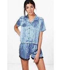 casey aztec print pom pom shirt + short pj set