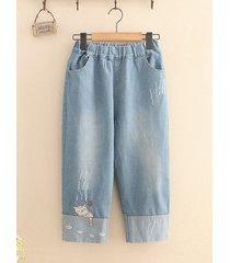 jeans a gamba larga per ricamo vintage per donna