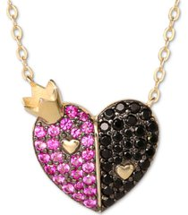 "disney cubic zirconia alice in wonderland queen of hearts 18"" pendant necklace in 18k gold-plated sterling silver"