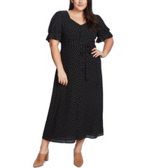1.state trendy plus size scatter dot puff-sleeve dress