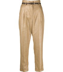 peserico belted straight-leg trousers - gold