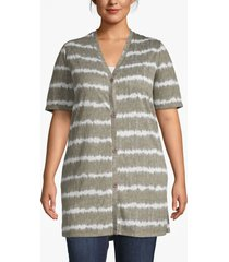 lane bryant women's effortless chic tie-dye striped cardigan 26/28 gray/white