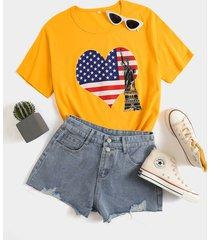 camiseta de manga corta con cuello redondo de talla grande independence day cuello star