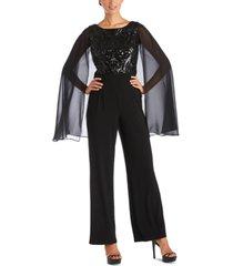 r & m richards sequin-cape jumpsuit