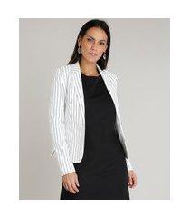 blazer feminino acinturado listrado com bolsos off white