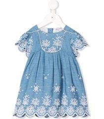 tartine et chocolat embroidered chambray dress - blue