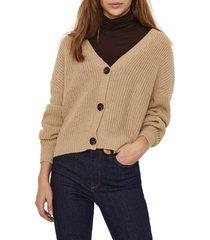 women's vero moda v-neck cardigan, size x-large - brown