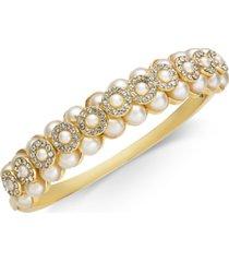 charter club gold-tone imitation pearl & crystal bangle bracelet, created for macy's