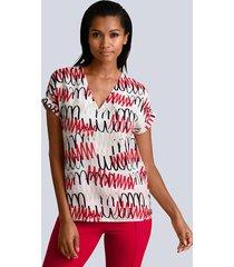 blouse alba moda wit::rood::zwart