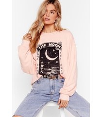 womens once in a blue moon graphic sweatshirt - apricot