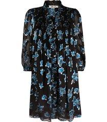 dvf diane von furstenberg layla orchid rain-print mini dress - black