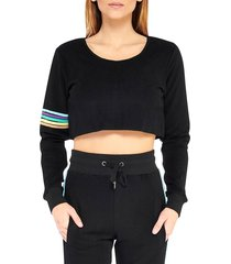 electric yoga women's sundrop cropped top - black - size s