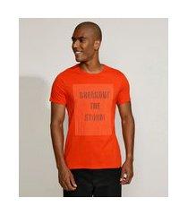 "camiseta masculina slim breakout the storm"" manga curta gola careca laranja"""