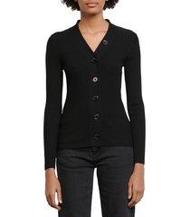 women's sandro ribbed cardigan, size 1 - black