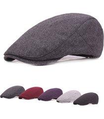 unisex casual berretto in feltro regolabile a tener caldo in inverno con visiera cabbie hat