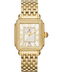women's michele deco madison mid diamond watch head & bracelet, 33mm
