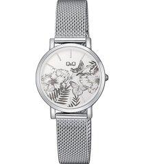reloj para dama elegante q&q qa21j231y plateado