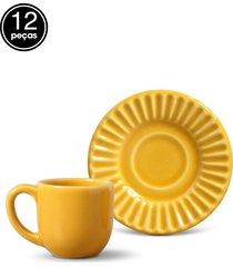 conjunto 12pçs xícaras de café 75ml porto brasil plissé amarelo