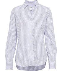 fitted boyfriend - lurex långärmad skjorta blå gap