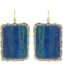 opal and round brilliant cut diamond drop earrings