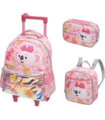 kit mochila com rodinhas lilica ripilica fun com lancheira e estojo feminina
