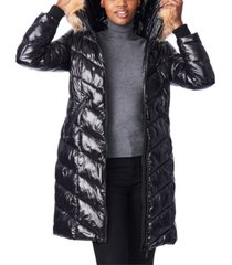 bernardo hooded faux-fur-trim shine puffer coat