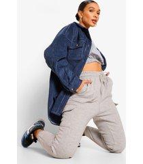 oversized jaren '90 corduroy blouse met contrasterende stiksels, blue