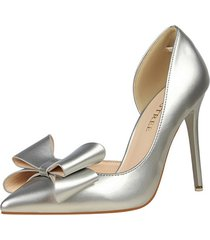 ps407 cute big bowtie pumps in candy color, us size 4-8.5, silver
