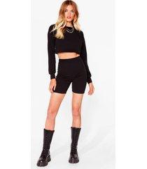 womens sweat it right sweatshirt and biker short set - black