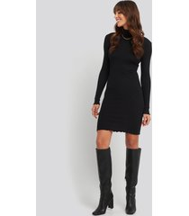 na-kd basic ribbed polo babylock dress - black
