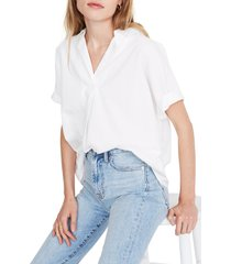 women's madewell band sleeve popover shirt, size x-large - white