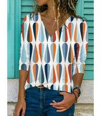 camicetta casual a maniche lunghe con scollo a v color block plus