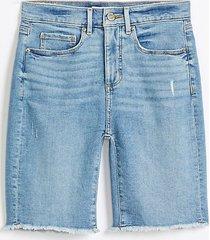 loft frayed high rise skinny bermuda shorts in medium vintage indigo wash