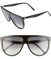women's celine 62mm oversize flat top sunglasses - shiny black/ gradient green