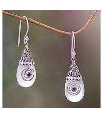 chalcedony dangle earrings, 'mount bromo mist' (indonesia)