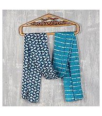 batik cotton scarf, 'elephant attraction in teal' (india)