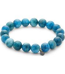 sterling silver, blue apatite & black diamond bracelet