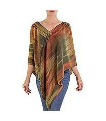 rayon chenille poncho, 'ethereal ginger' (guatemala)