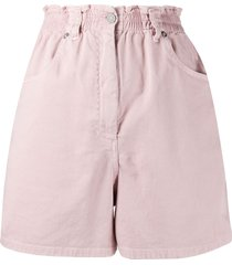 nude high-rise fitted shorts - pink